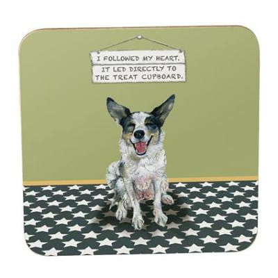 little dog laughed treat cupboard coaster