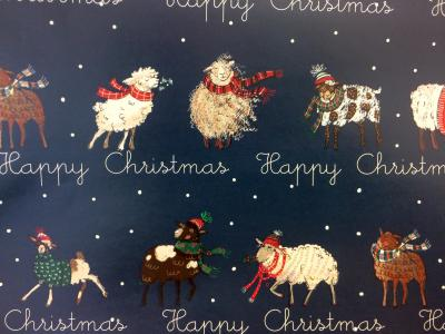 animals christmas gift wrap sheep