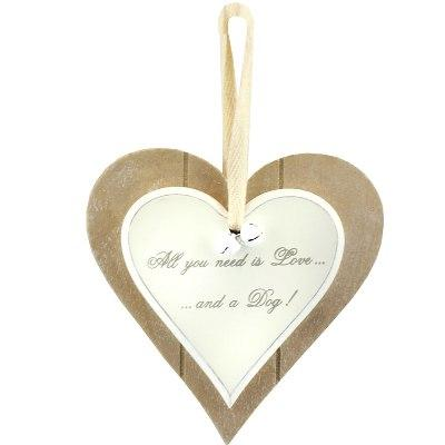 All you need is love and a dog wooden heart plaque lesser and pavey leonardo collection