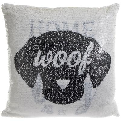 Dog Sequin reversible cushion