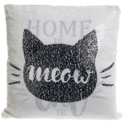 Cat Sequin reversible cushion