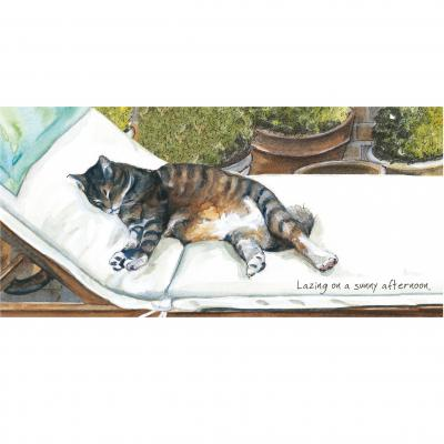 Little Dog Laughed Lazy Sunny Afternoon Cat Greeting Card