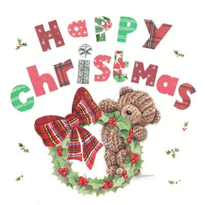 Milkwood Whistlefish Galleries Christmas Card teddy bear Merry Christmas