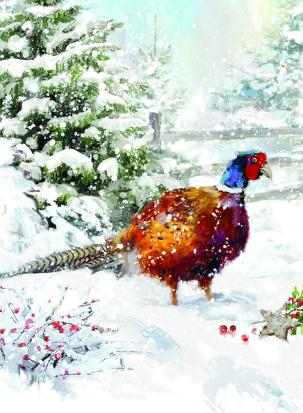 pheasant in snow christmas tags ling design