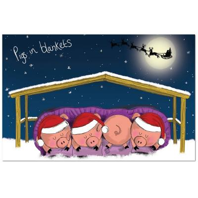 national animal welfare trust pigs in blankets window charity christmas card - Animal Charity Christmas Cards