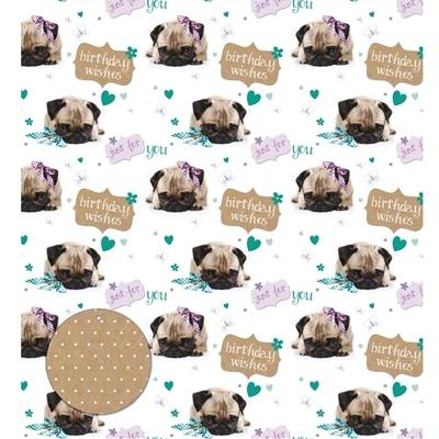 Otterhouse Birthday Pug Gift Wrapping Paper