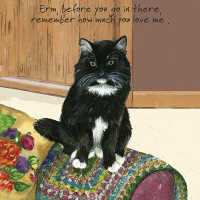 Little Dog Laughed Before you go in there cat greeting card