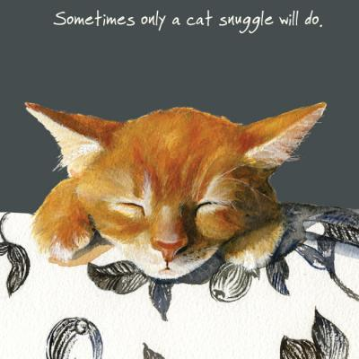 Little Dog Laughed Cat Snuggle ginger cat greeting card