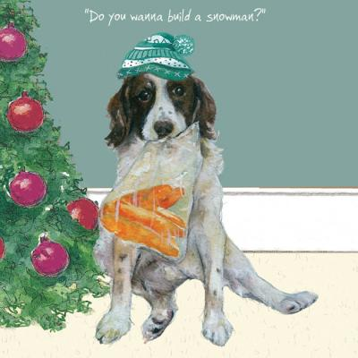 Little Dog Laughed Digs & Manor Christmas Greeting Card Dog Do you want to build a snowman