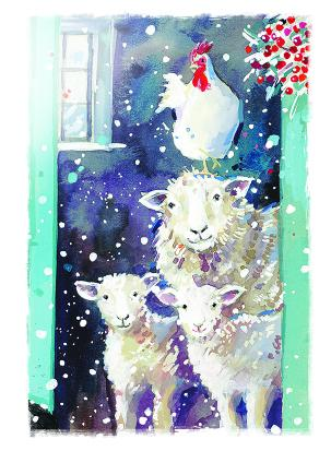 sheep and chicken christmas tags ling design
