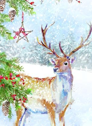stag in snow christmas tags ling design