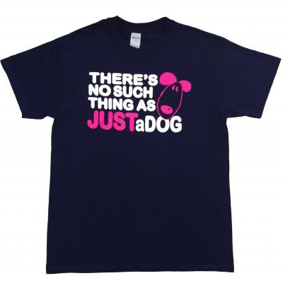 There's no such thing as just a dog t-shirt small navy bright pink white