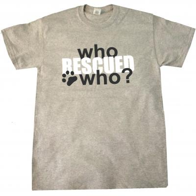 Who rescued who dog cat t shirt large grey white black