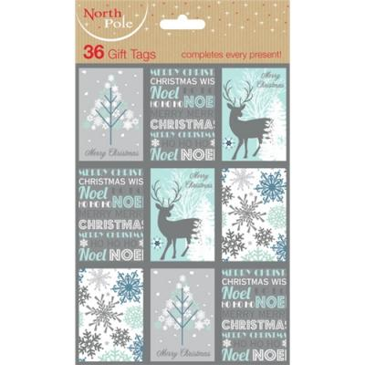 Christmas Gift Tags Pack Contemporary Blue White Silver