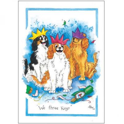 Alison's Animals Splimple Christmas Card We Three Kings King Charles Spaniels