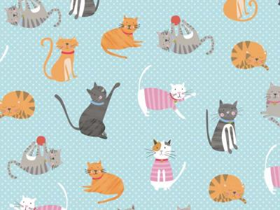 furry cat friends wrapping paper whistlefish