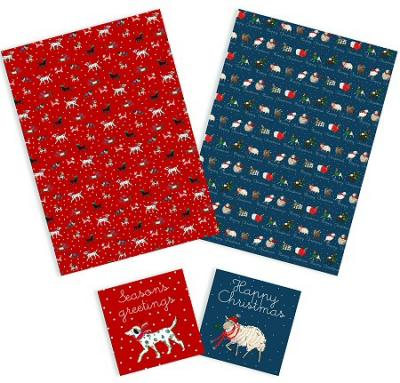 animals christmas gift wrap